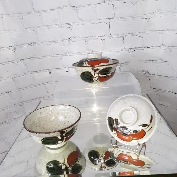 VTG OTAGIRI Stoneware Persimmon Covered Bowls…
